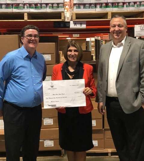 Pictured L to R:  Bryan Honaker, BM Lima, OH branch, Linda Hamilton, CEO West Ohio Food Bank, and Rod Coffey, AVP