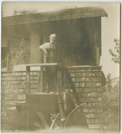 Father by his cabin, Colorado Springs, CO, 1906 (* name withheld to protect living relatives)