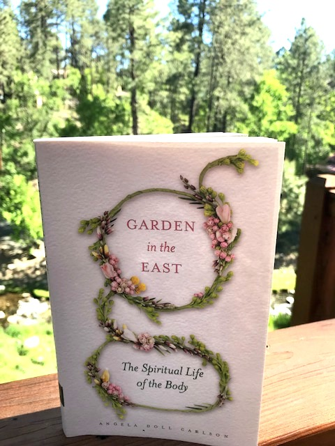 The reviewer's photo of  Garden in the East: The Spiritual Life of the Body  taken in the New Mexico mountains.
