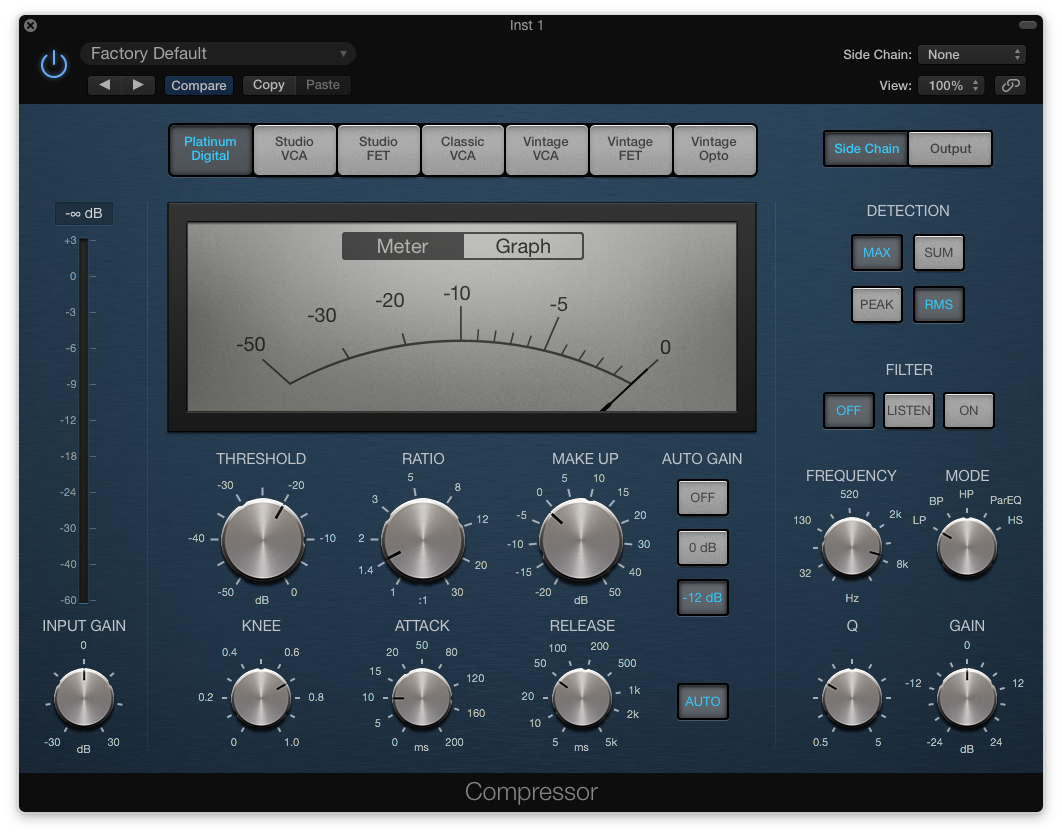 The stock Logic X compressor, which in all honesty I only ever use if I want to do some side-chain compression. It's probably because it's blue and a bit boring looking. Yes, I know the VCA, FET etc changes the colour, but it's too late for all that at this stage. My mind is made up.