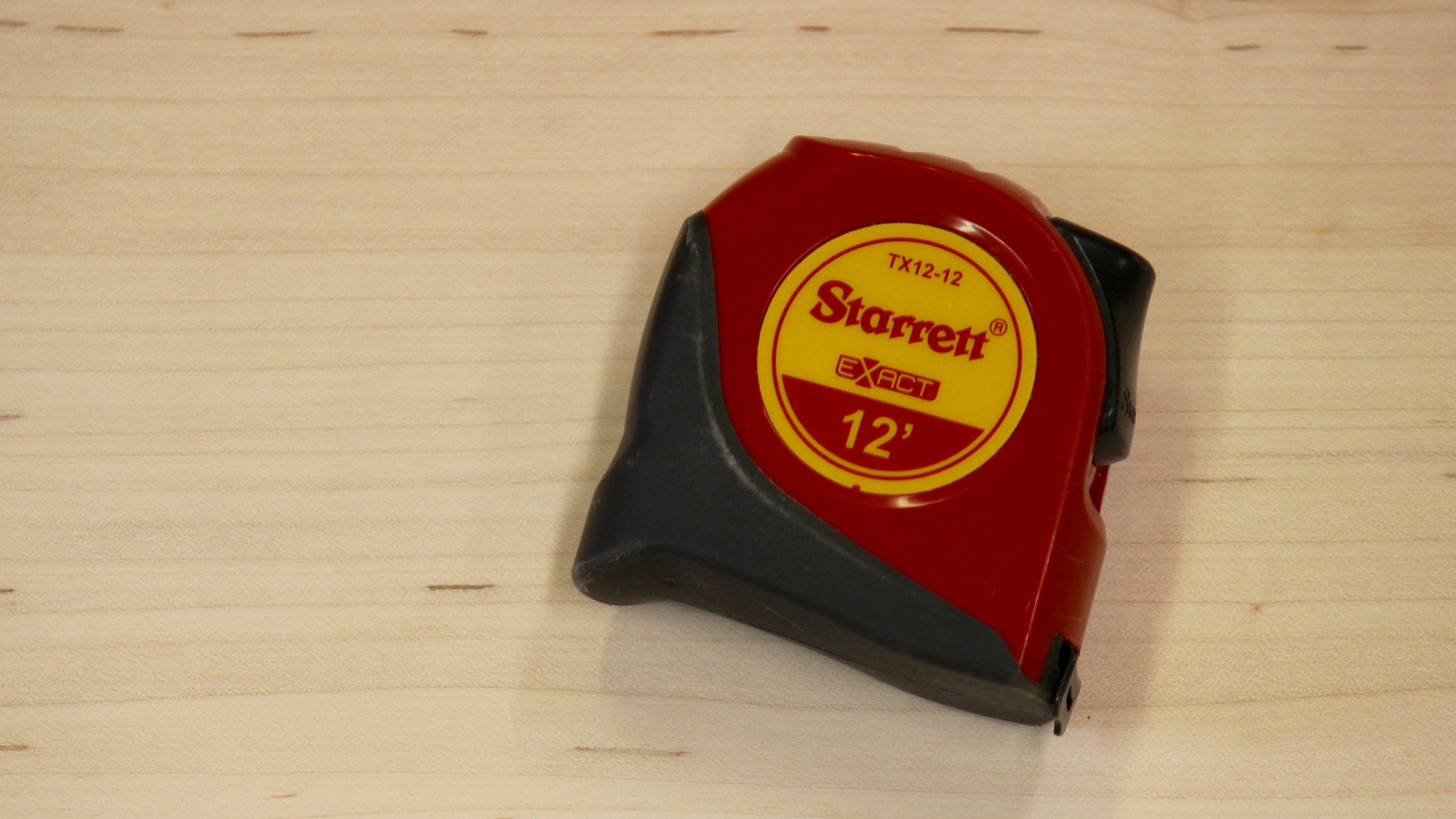 Figure 2 - The 12' Starrett Exact tape is just about perfect for woodworkers. Note the rubberized bottom half and the attractive color.