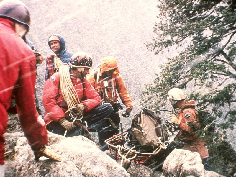 "Starting ""scree evacuation"" practice, somewhere in Boulder County, 1960s or '70s"
