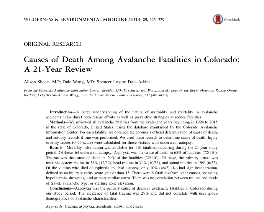 Wilderness & Environmental Medicine (2018): Causes of Death Among Avalanche Fatalities in Colorado: A 21-Year Review