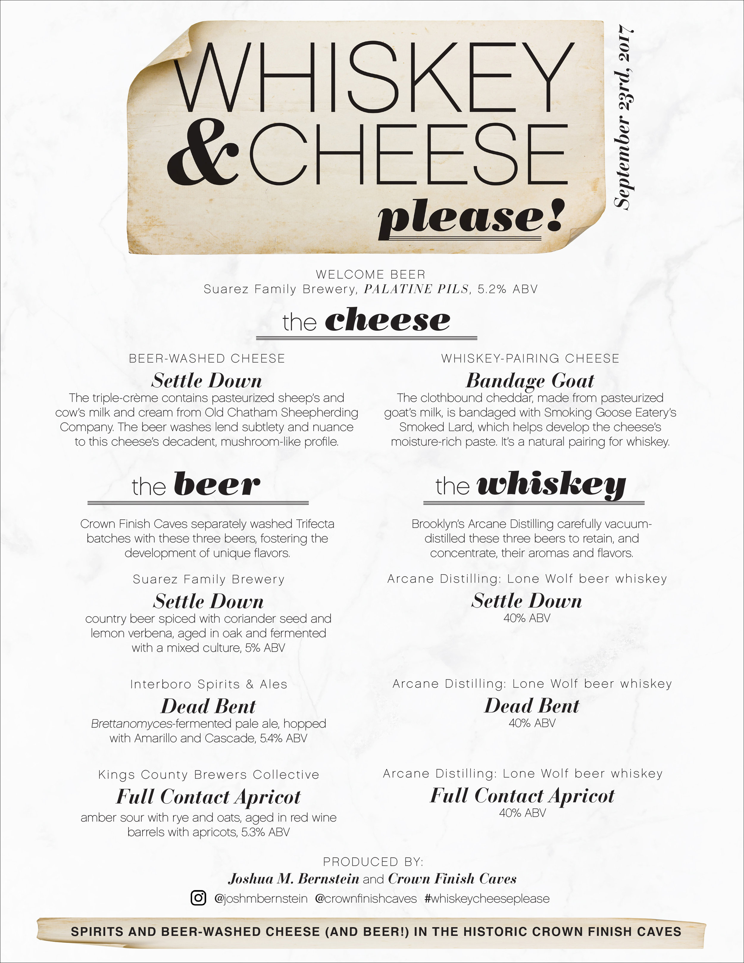 Whiskey & Cheese, Please - Event Logo and Menu Design
