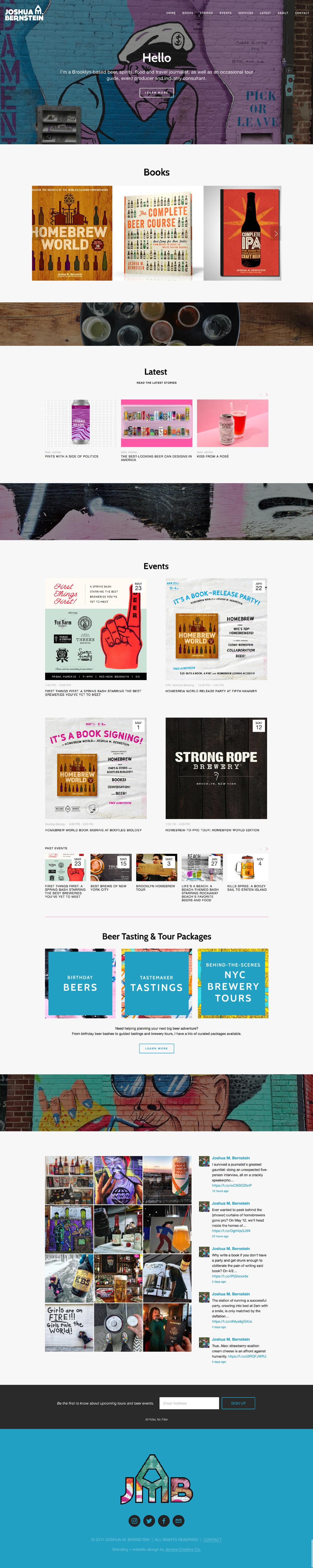Squarespace website homepage and branding for Joshua M. Bernstein