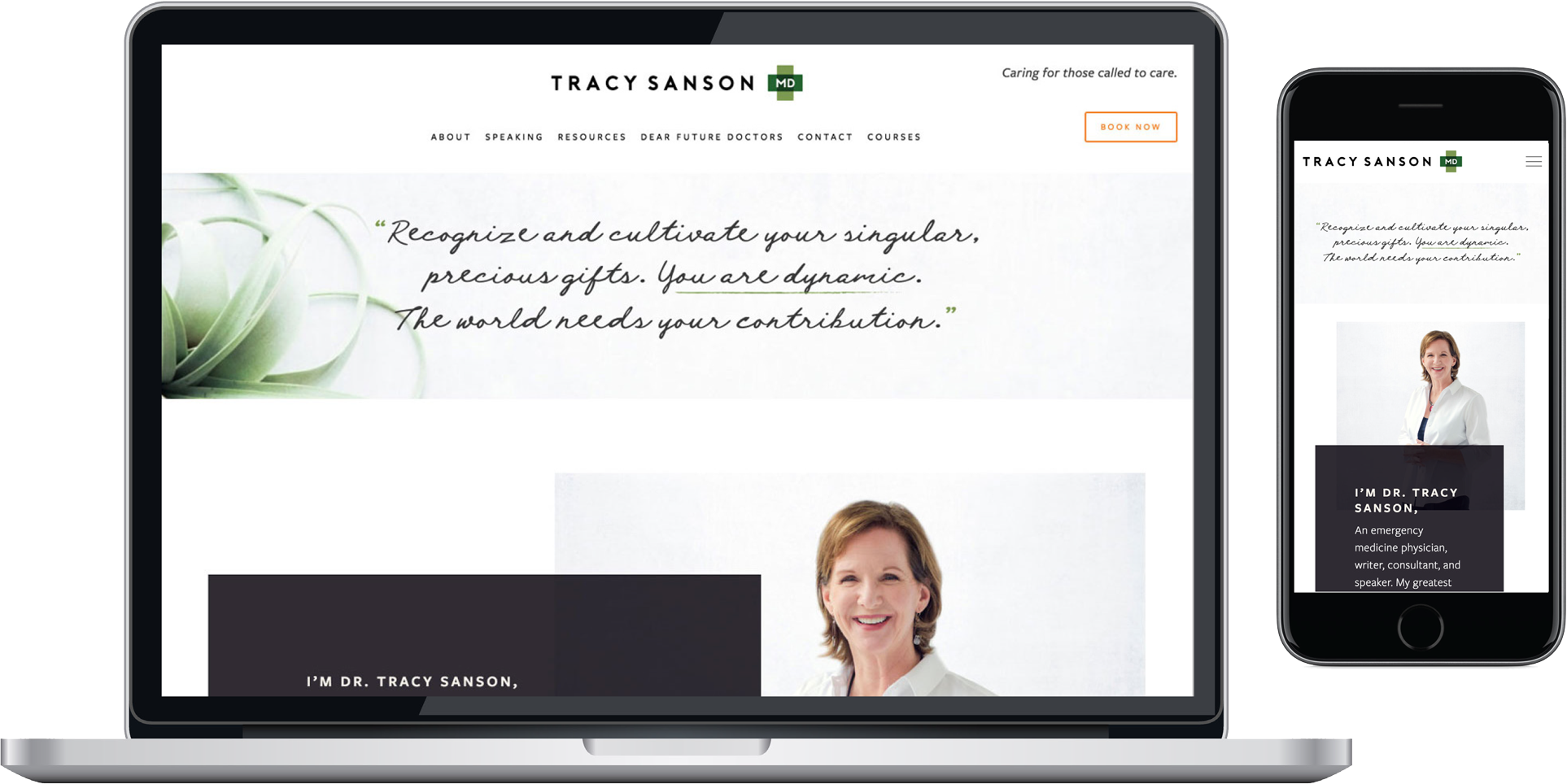 TracySansonMD - responsive squarespace website homepage