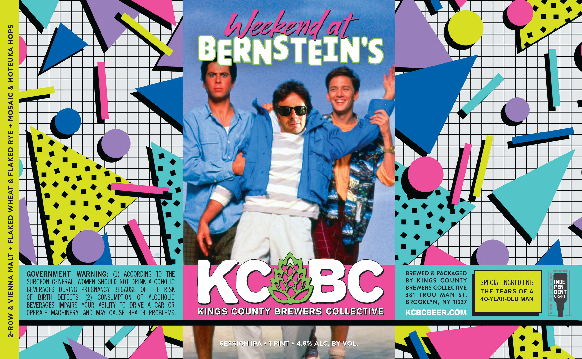 Weekend at Bernstein's custom beer label design - full label