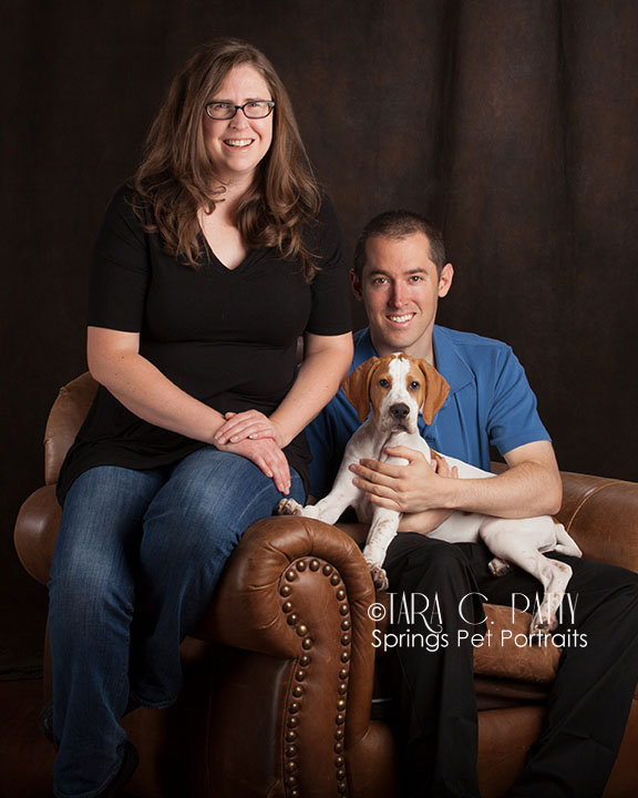 The Nelson's with their 3 month old English Pointer.