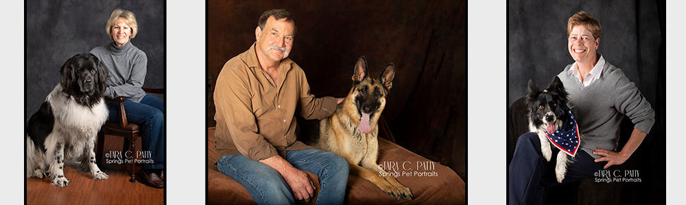 Wearing neutral or earth tones with your dog in the portrait helps harmonize the colors.