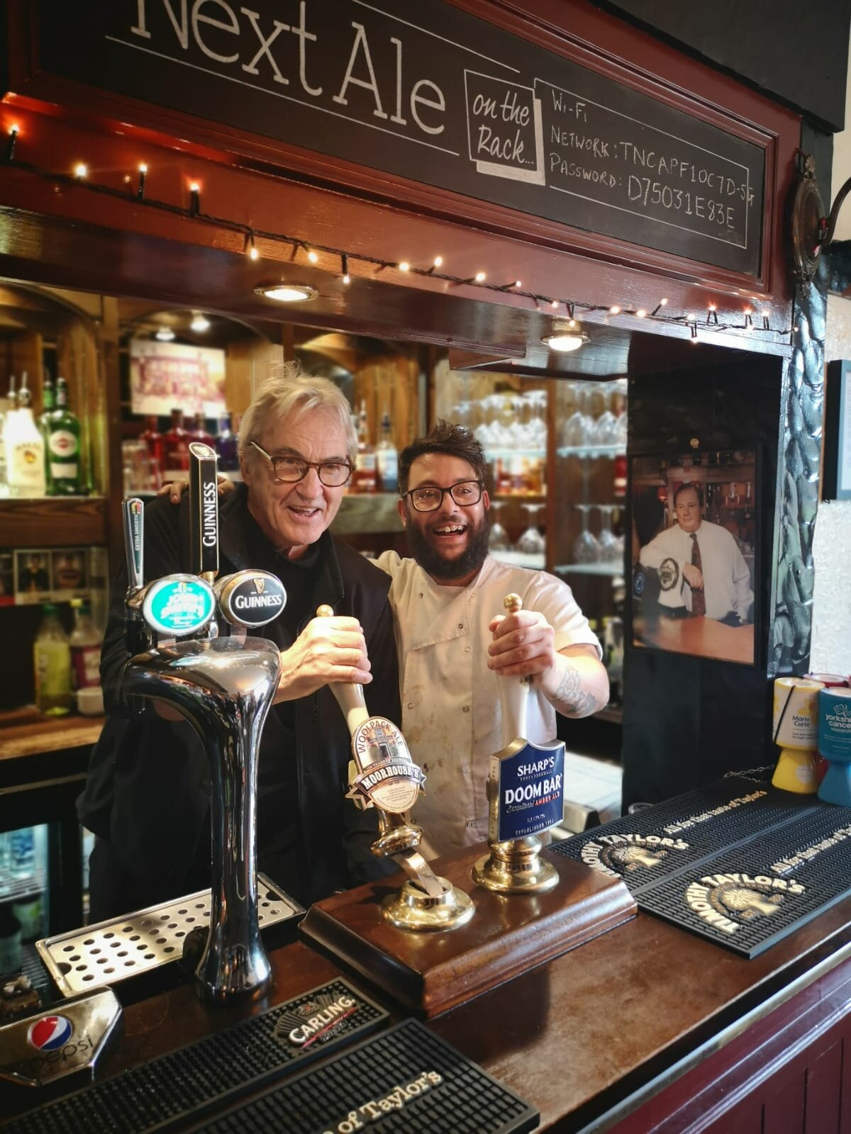 It was great to see Larry Lamb when he popped into the Woolpack for lunch with regular Duncan Preston, who plays Doug in Emmerdale. He is a charming guy and the customers were absolutely delighted to have their picture taken with him.