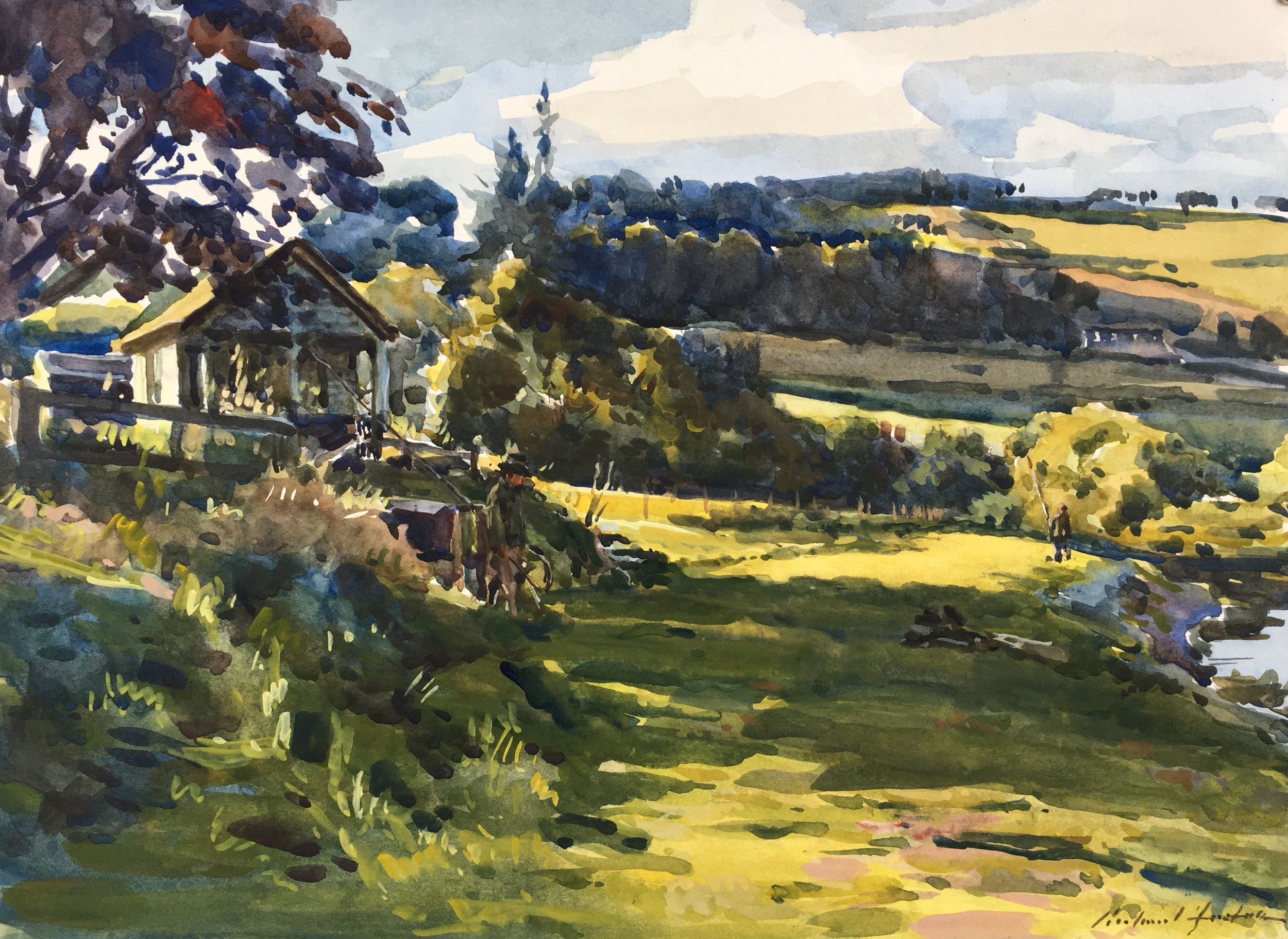 Looking back towards the house, watercolour, 10 x 14.JPG