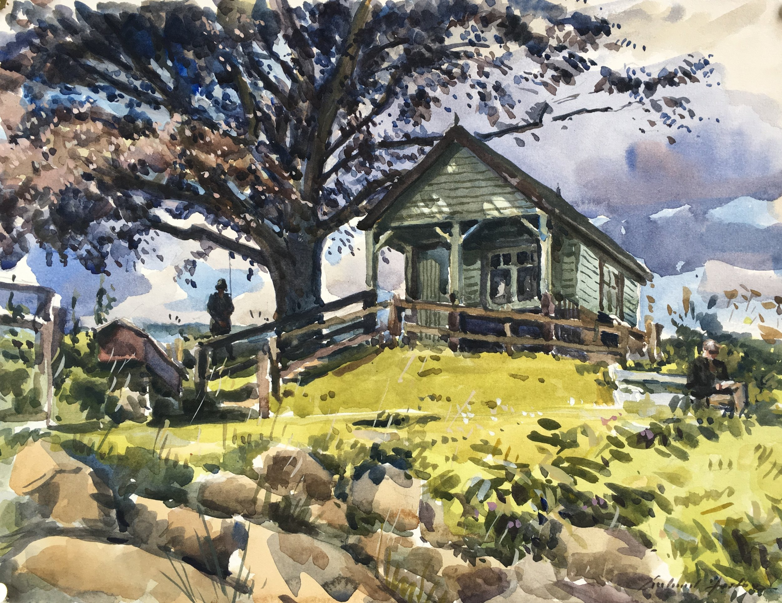 The Hut with Gina, watercolour, 10 x 14.JPG