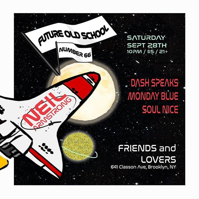 This Saturday, we're blasting off w a super fresh lineup.  Residents @dashspeaks & @djsoulnice will be joined by the one and only @djneilarmstrong and the super funky @djmondayblue at homebase @friendsandloversbk.  10pm / $5 / 21+