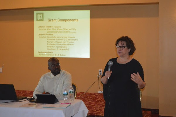 Lynn Lobel, Grants & Resource director for Queens Council on the Arts, explained the components of grant writing. She was joined by Molaundo Jones, Arts Services Manager with Queens Council on the Arts.