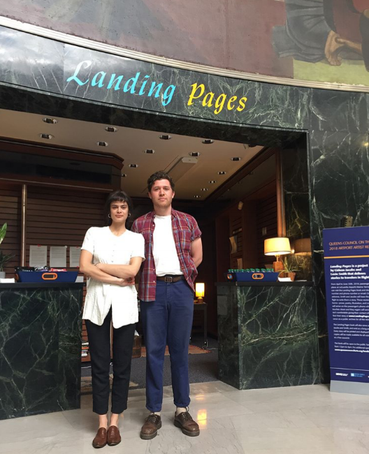Lexie Smith and Gideon Jacobs in front of the Landing Pages kiosk at the Marine Air Terminal, LaGuardia Airport (Terminal A)