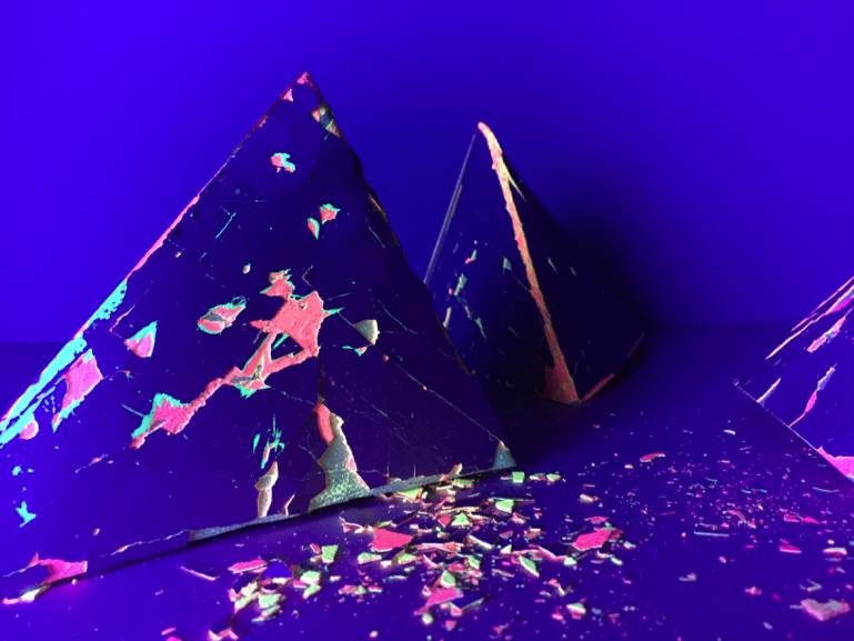 SHED sculpture Tetrahedrons under UV light