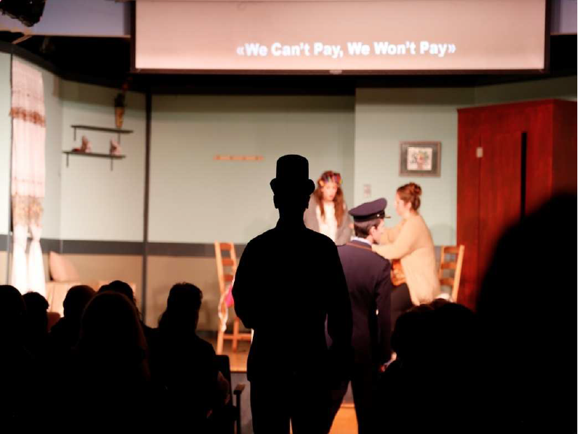 "Production view of ""I Can't Pay! I Won't Pay! by Dario Fo""  Directed by Ioanna Katsarou & Christos Alexandridis, Presented at the Hellenic Cultural Centre of Archdiocesan in Astoria Queens. Production of Eclipses Group Theatre NY, 2015"