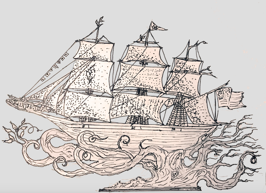 """Preliminary sketch of the """"Wind & Waves"""" clipper ship sculpture"""