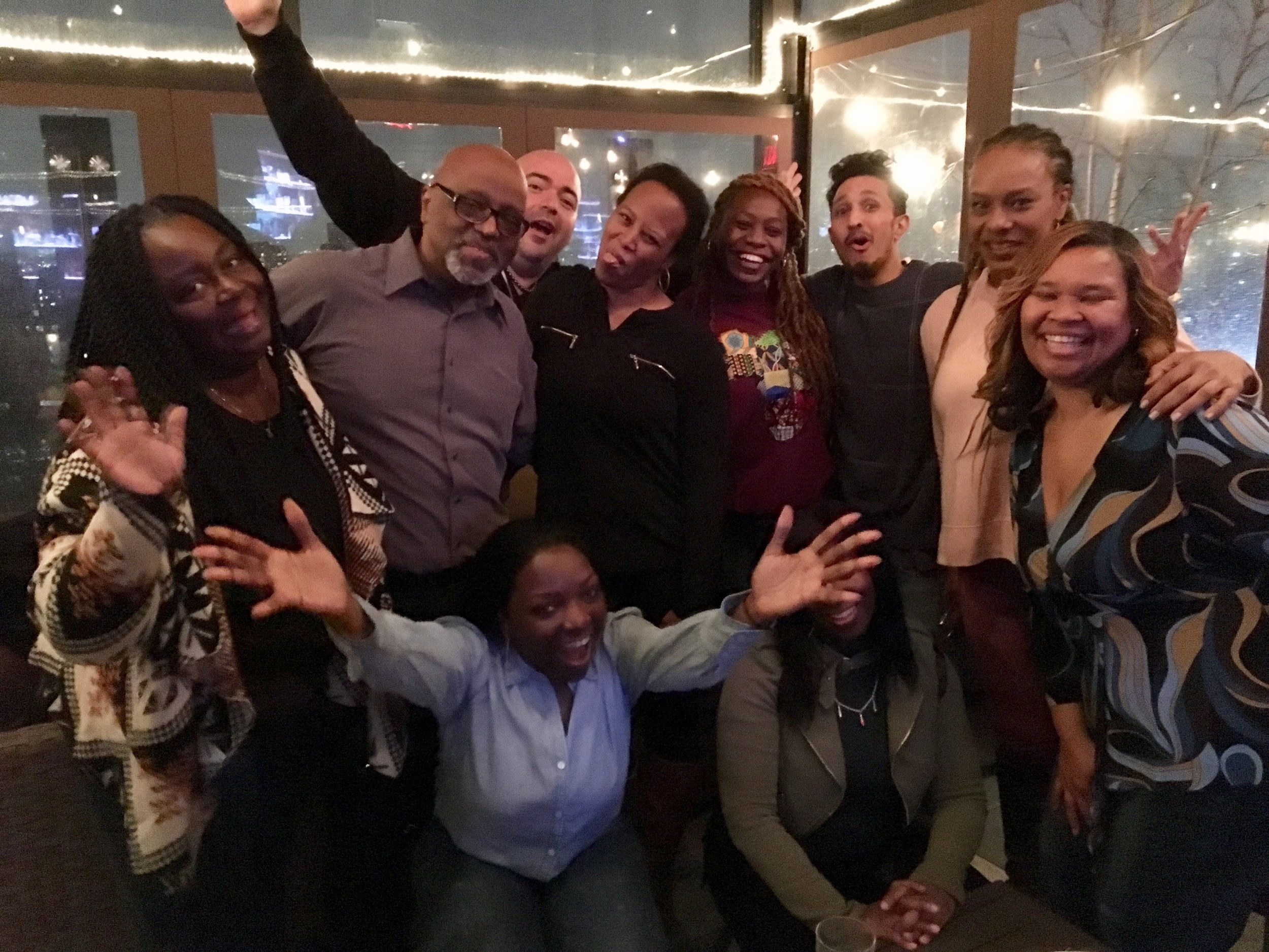 Jamaica & Southeast Queens Art Producers & Artists at the 2018-19 ACP Kickoff Party From Left: Tyra Emerson, Darrell Bridges, Jesus Ward, LaNeese Ray, Brittany Wilson, Y? Guyadin, Kerri Edge, Linette Townsley, Brendez Wineglass, and Yolanda Johnson