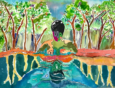 "image courtesy of the artist, Luzia Castaneda, ""Rebirth in the Water"""