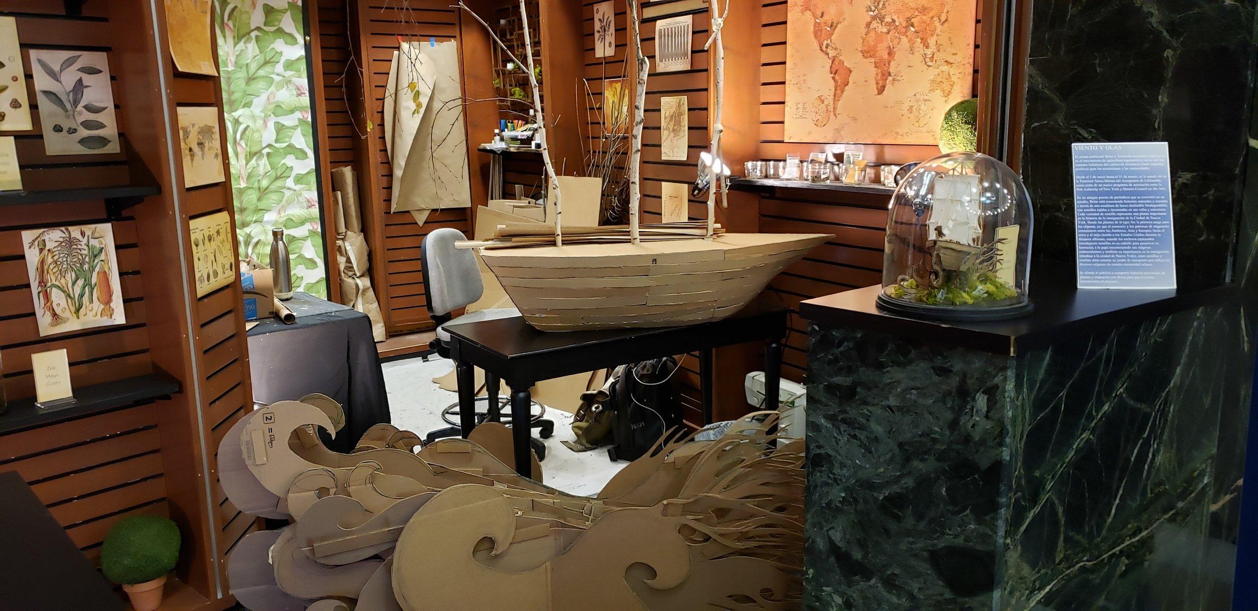 View of Brian's ArtPort studio and  Wind & Waves  sculpture in progress