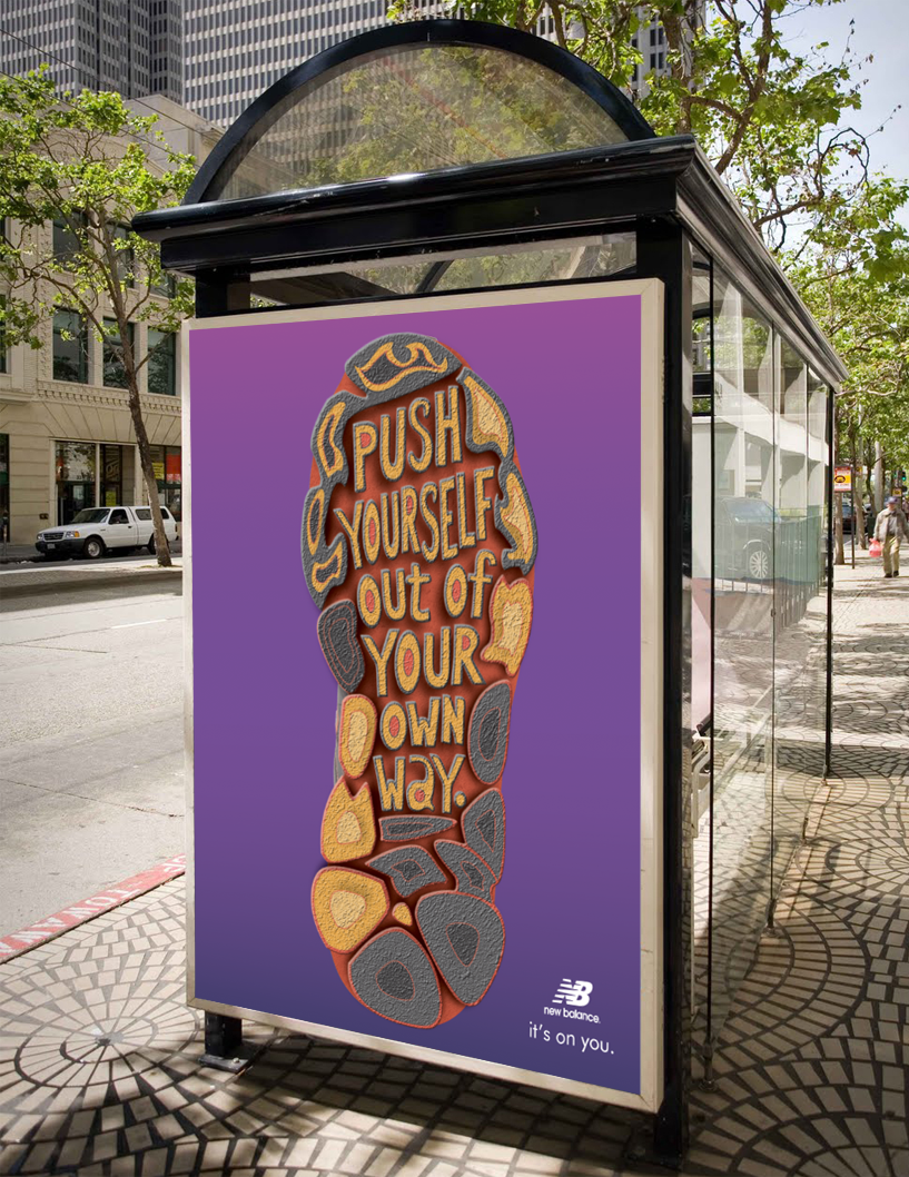 Ads placed along bus stops surrounding city parks, where city runners go to run