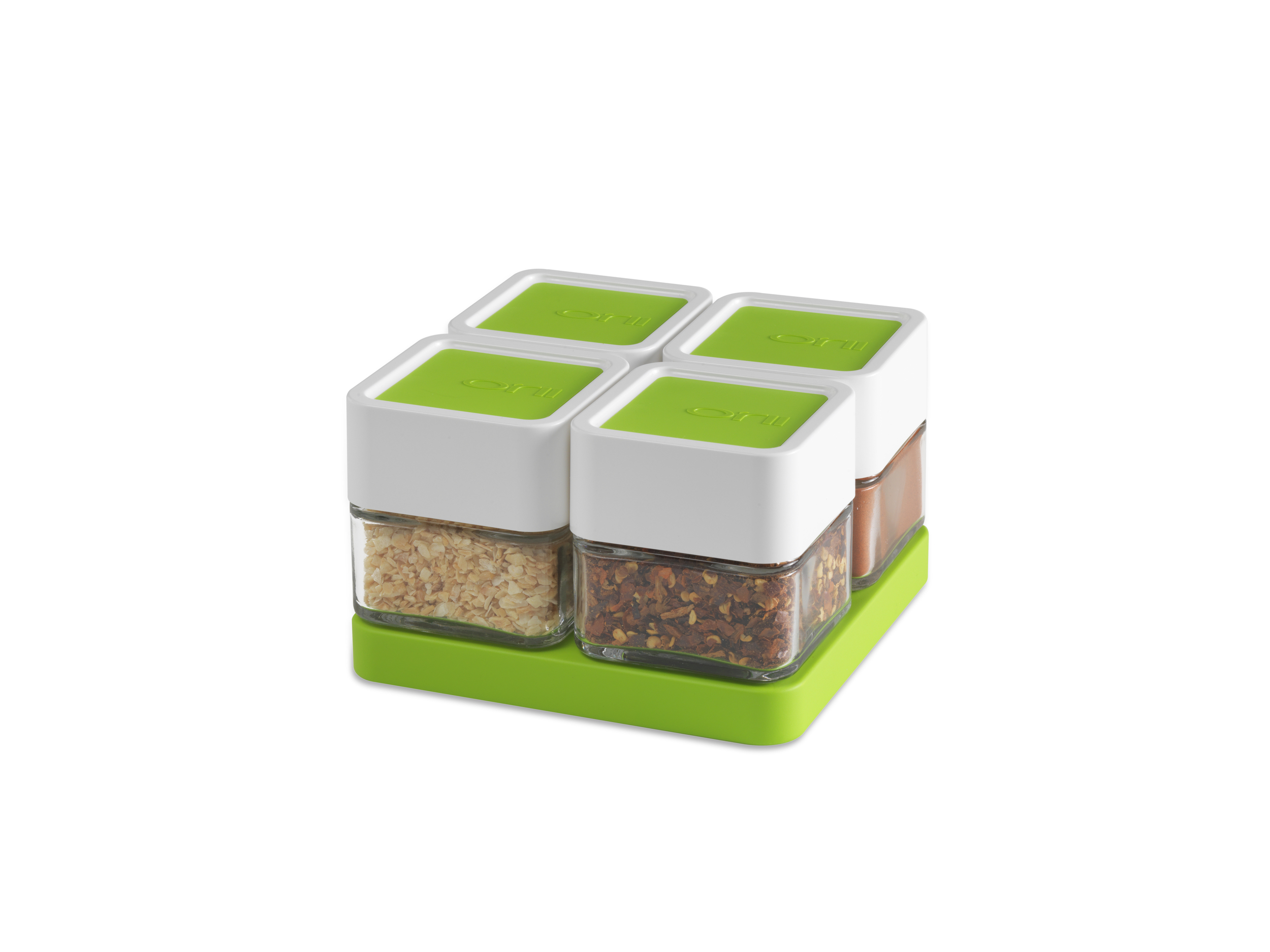Orii 4 MONO - Spice Block   with BONUS Tray-    SET OF 4    VIBRANT GREEN