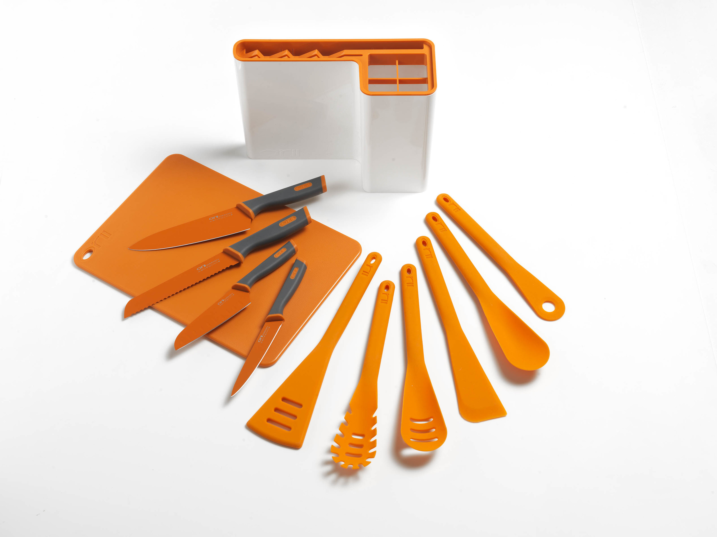 Orii 12PC MONO KITCHEN ORGANIZATION SET - LUMINOUS ORANGE                                                                   MODERN UTENSILS