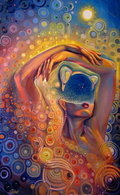 Cosmic kitten Acrylic on canvas 2011