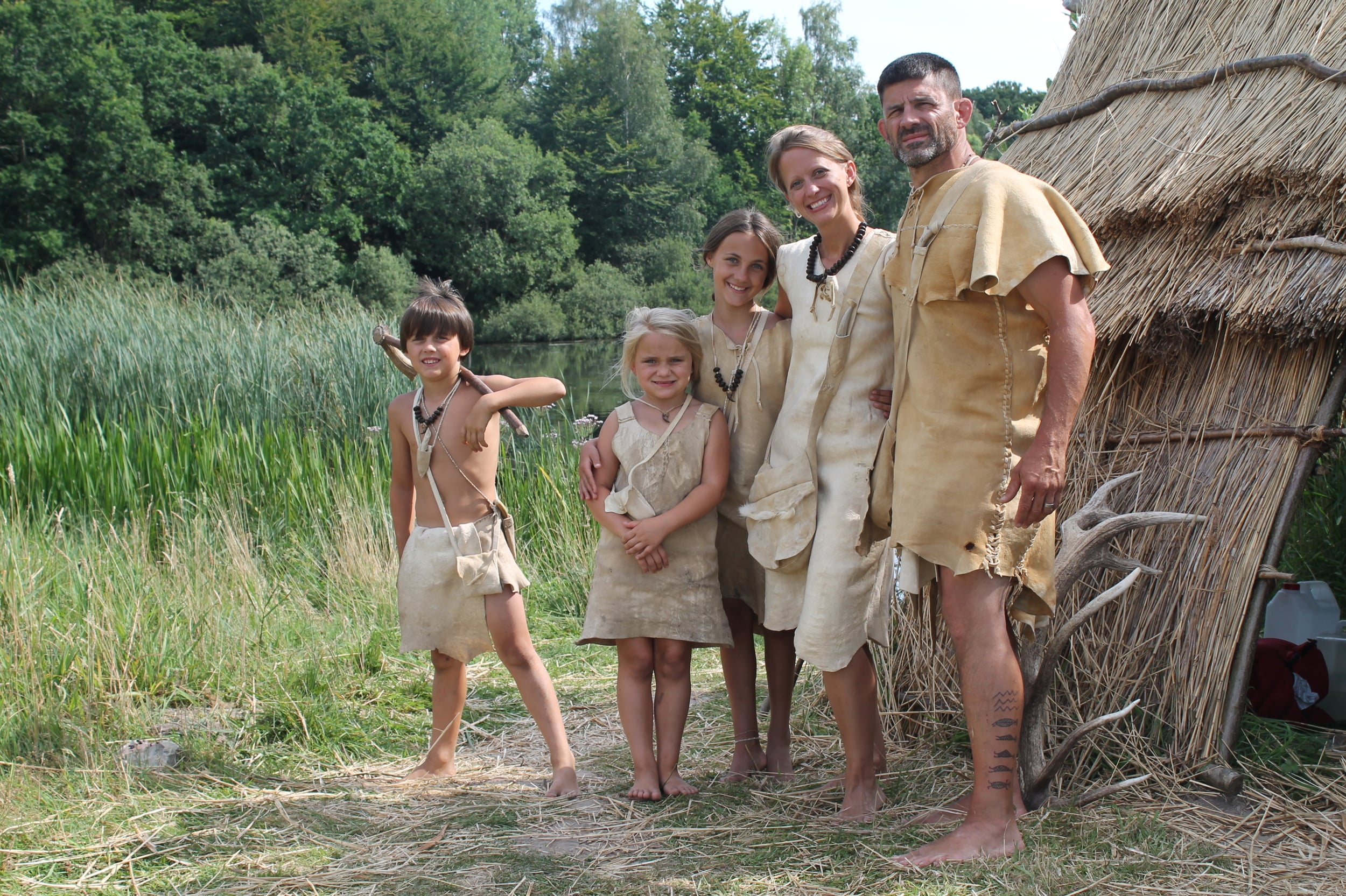 The Schindler family living in the stone age village: Lejre, Denmark. Dr. Schindler made all the clothing and primitive tools.