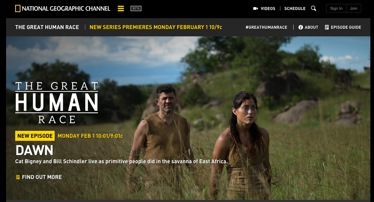 The Great Human Race Homepage on National Geographic Channel