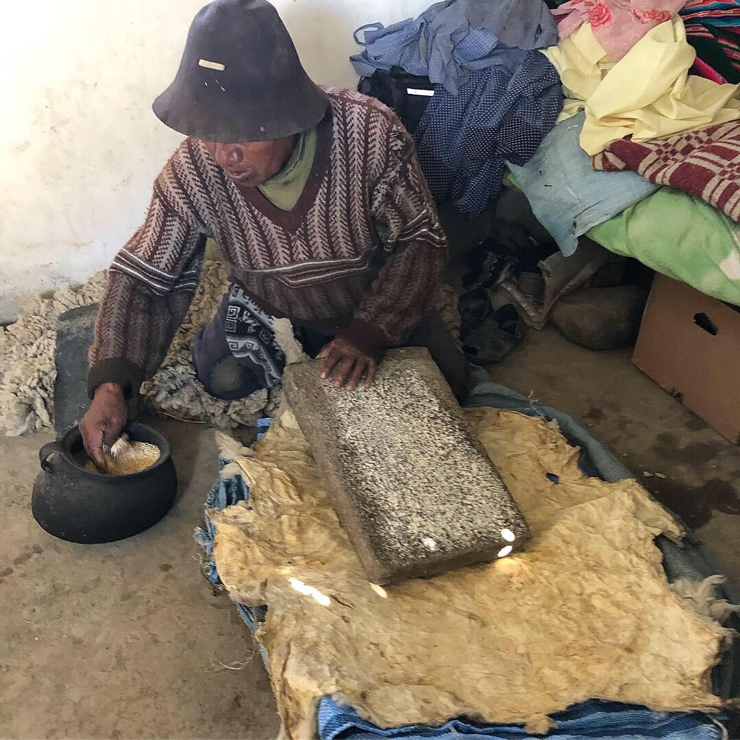 Grinding Quinoa on stone