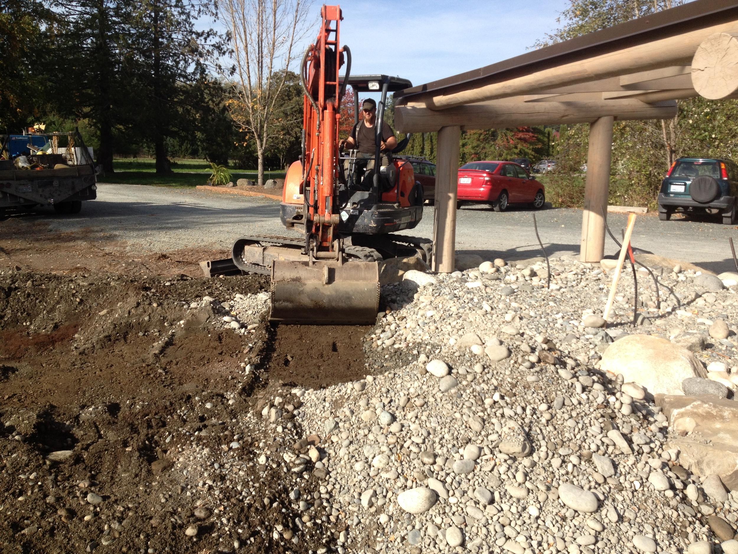 Stream Channel Excavation for Native Plant Garden - In progress, Oct 2015