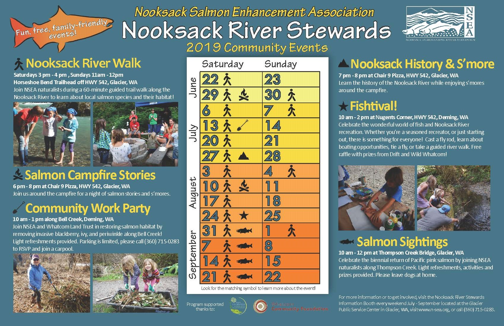 The Nooksack River Stewards Summer Events take place every weekend from June 22nd to Sept 21st. Join us for a free family friendly event!