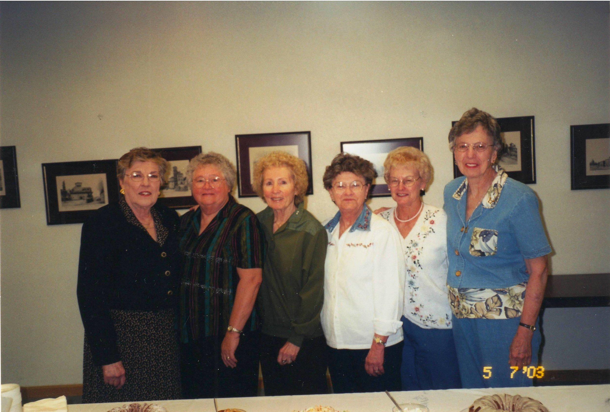 Left to right: Mary Gustafson,Mary Barkmeier,Norma Beri,Adeline Smith,Pat O'Hayre,Vi Harris (June 2003)