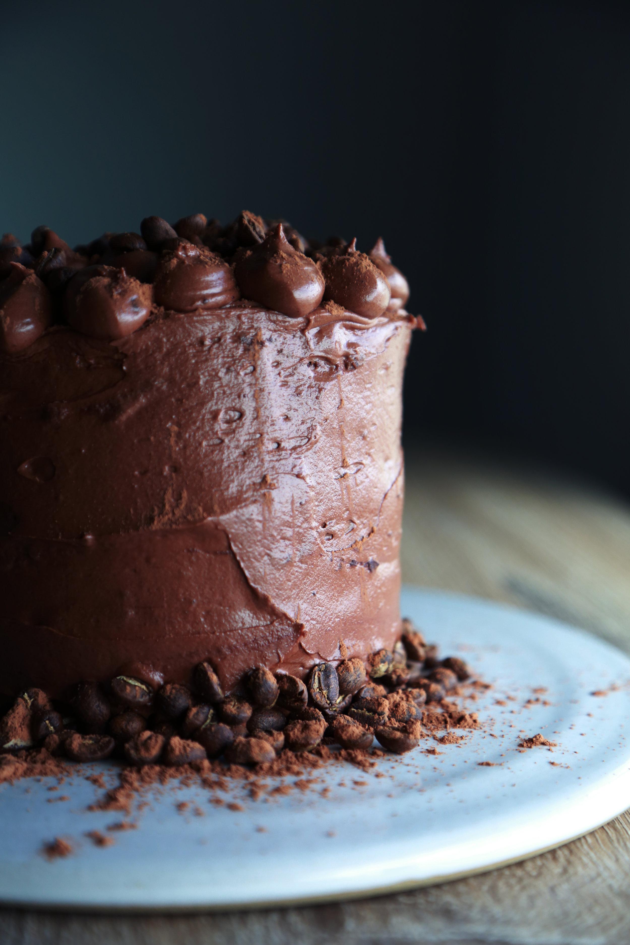 Gluten Free Espresso Chocolate Cake with Chocolate Buttercream