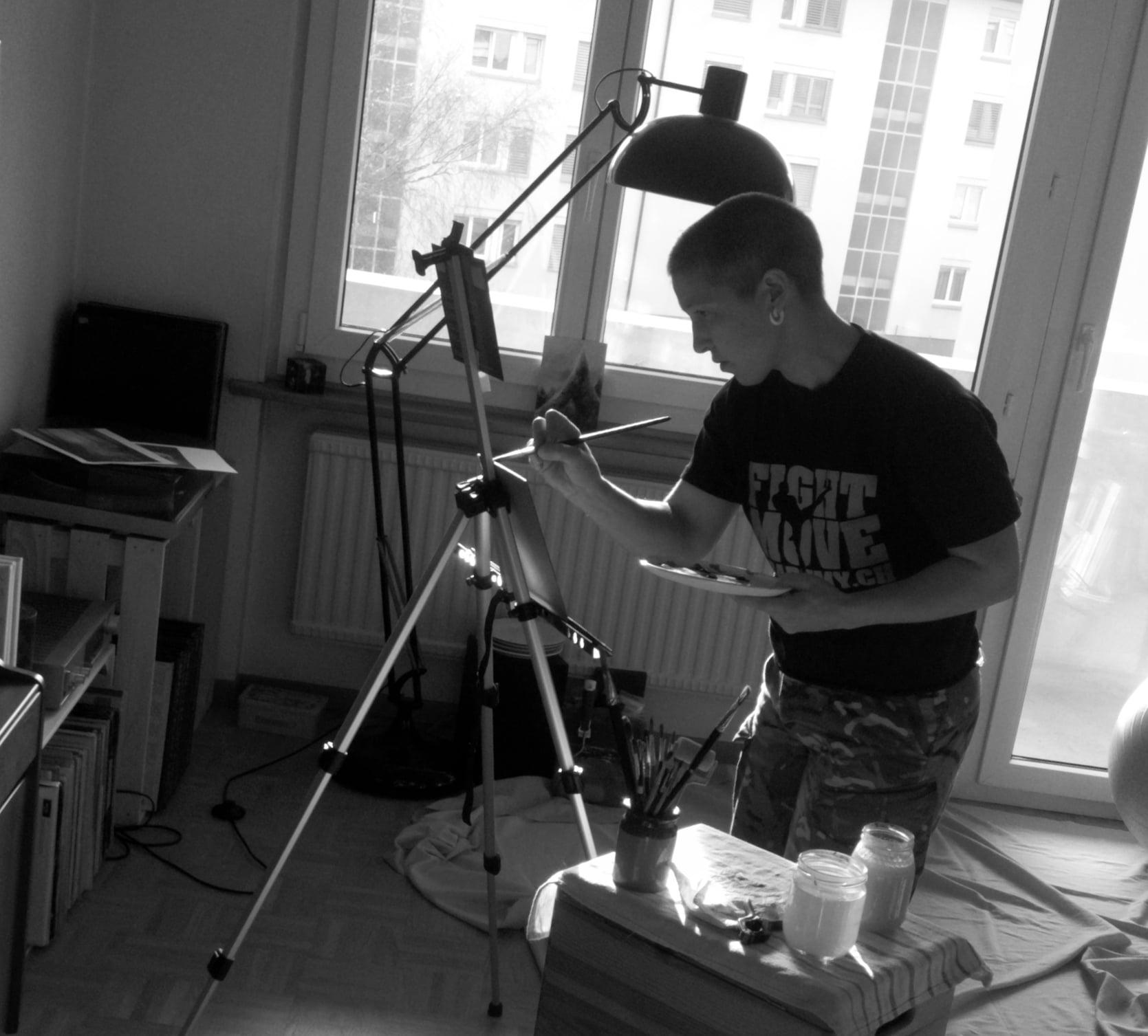 Victoria in her studio in Switzerland, January 2016