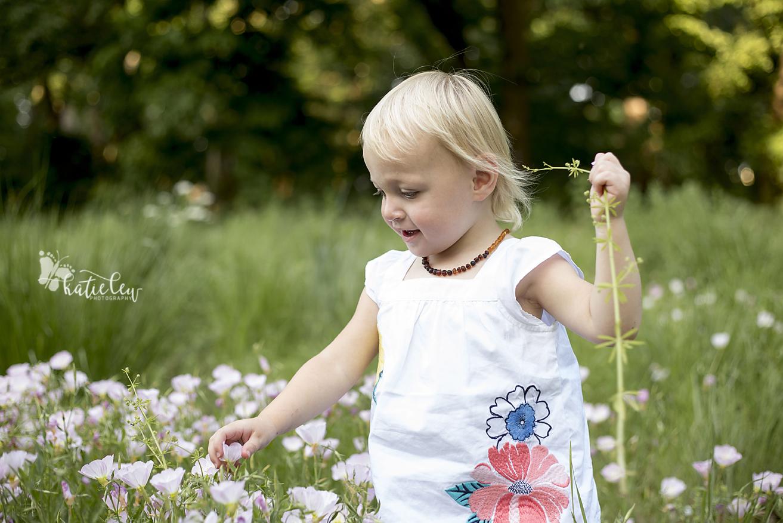2 year old girl in field of oklahoma wildflowers
