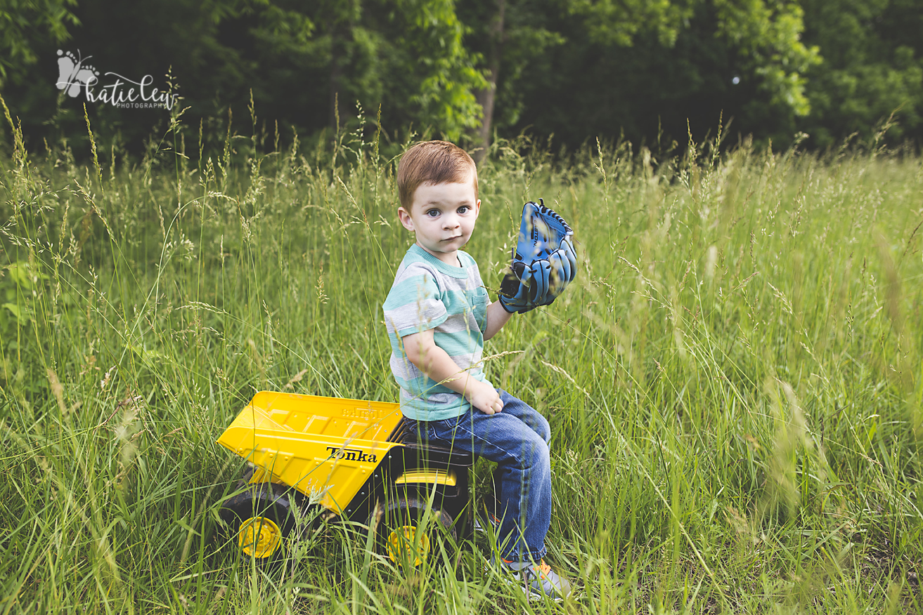 three year old and his dump truck