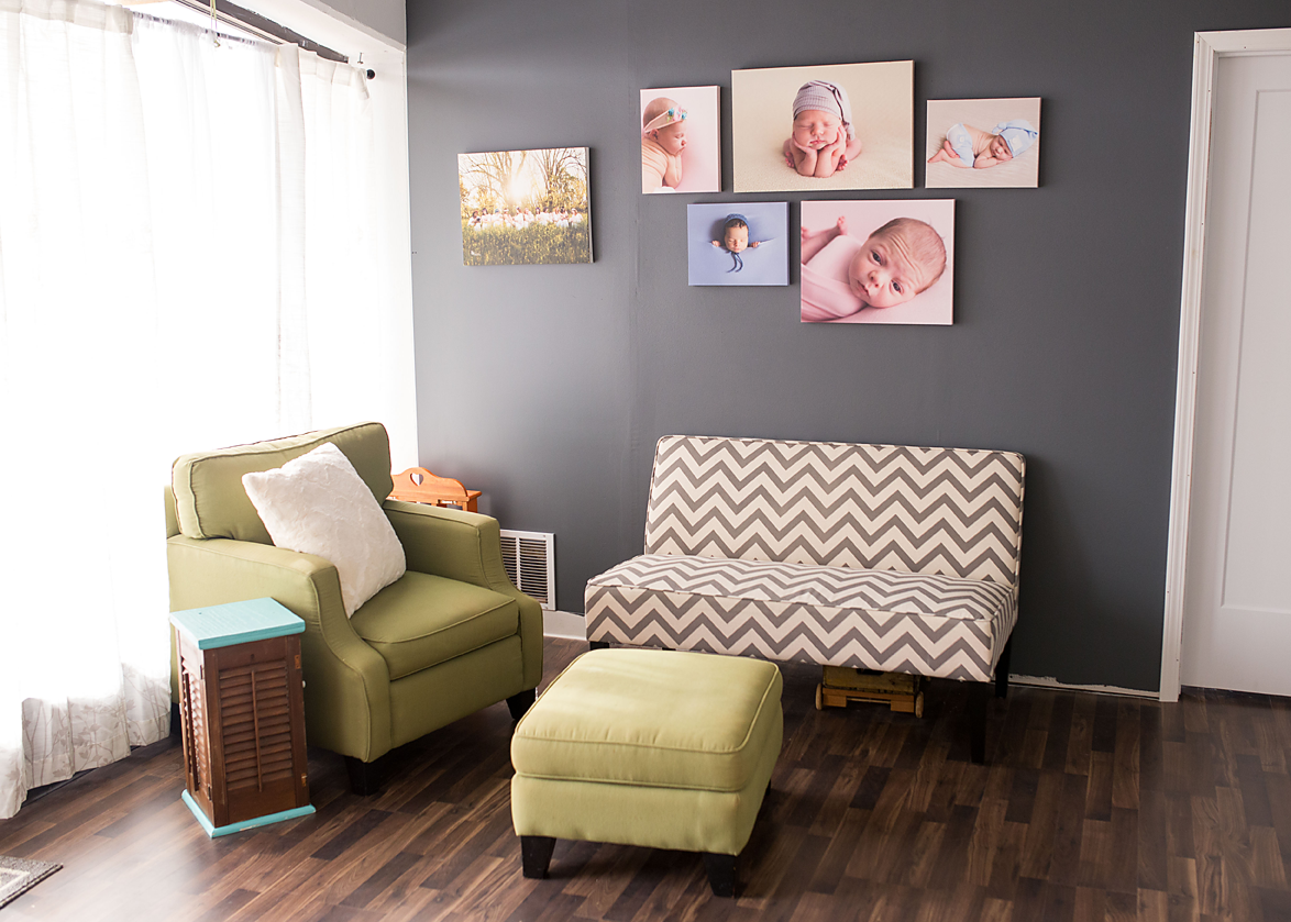 A comfy seating area for you and your loved ones to hang out while I photograph your babies
