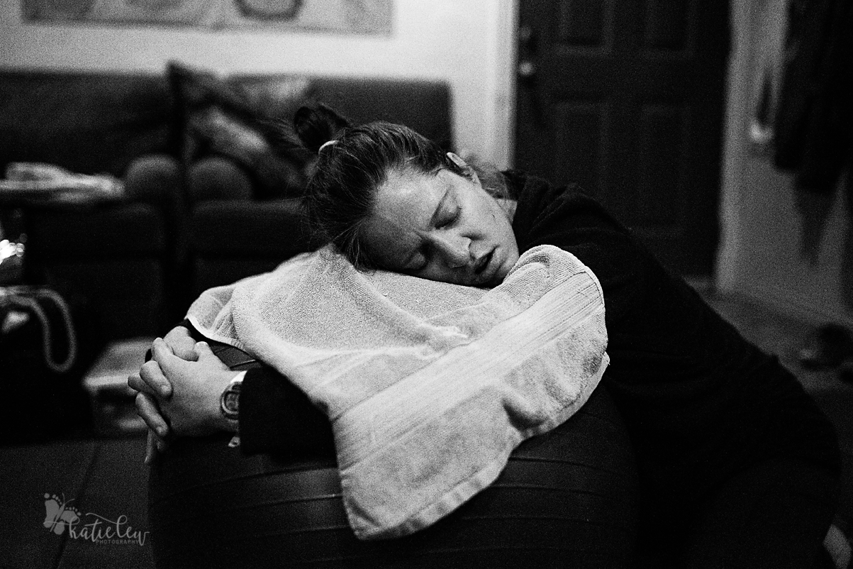 The mom resting in between contractions during her birth in northern oklahoma