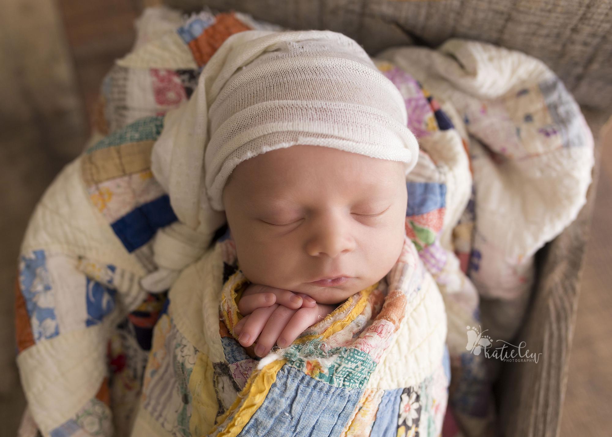 newborn baby boy at photographer studio in stillwater