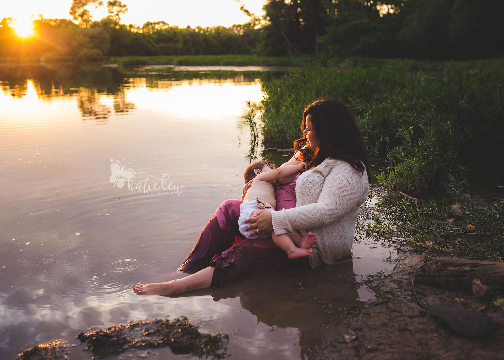 breastfeeding shoot in the lake
