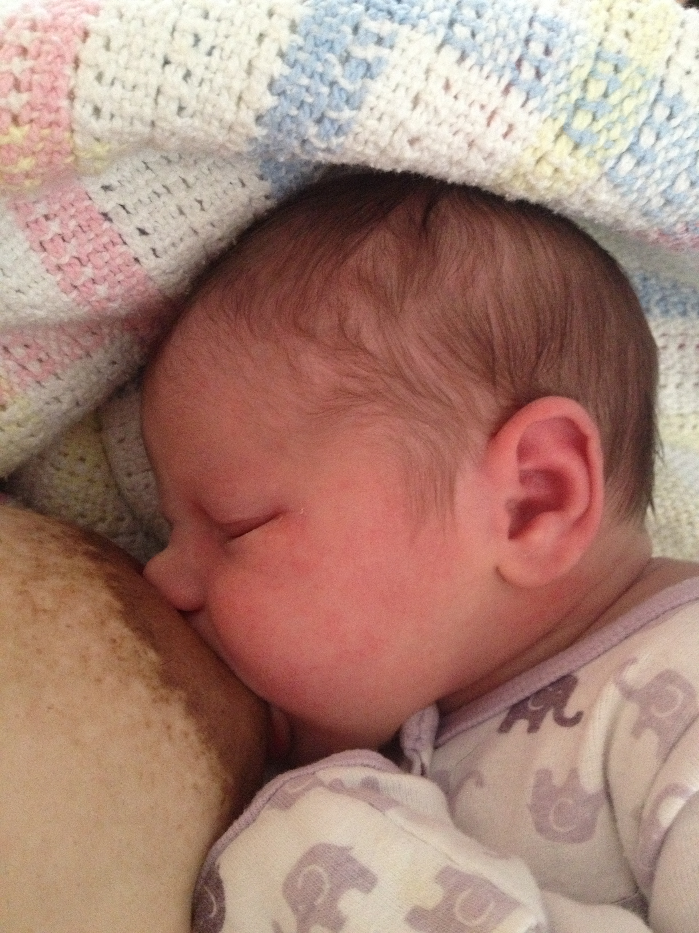 Nora, 1 day old. Latched on and breastfeeding well...or so I thought