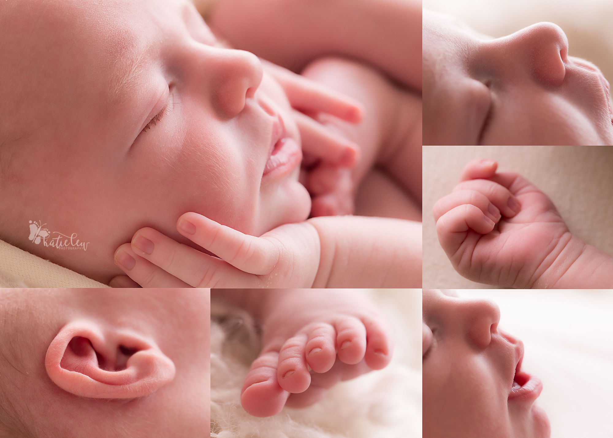 A collage of newborn macro images that include baby toes and newborn fingers
