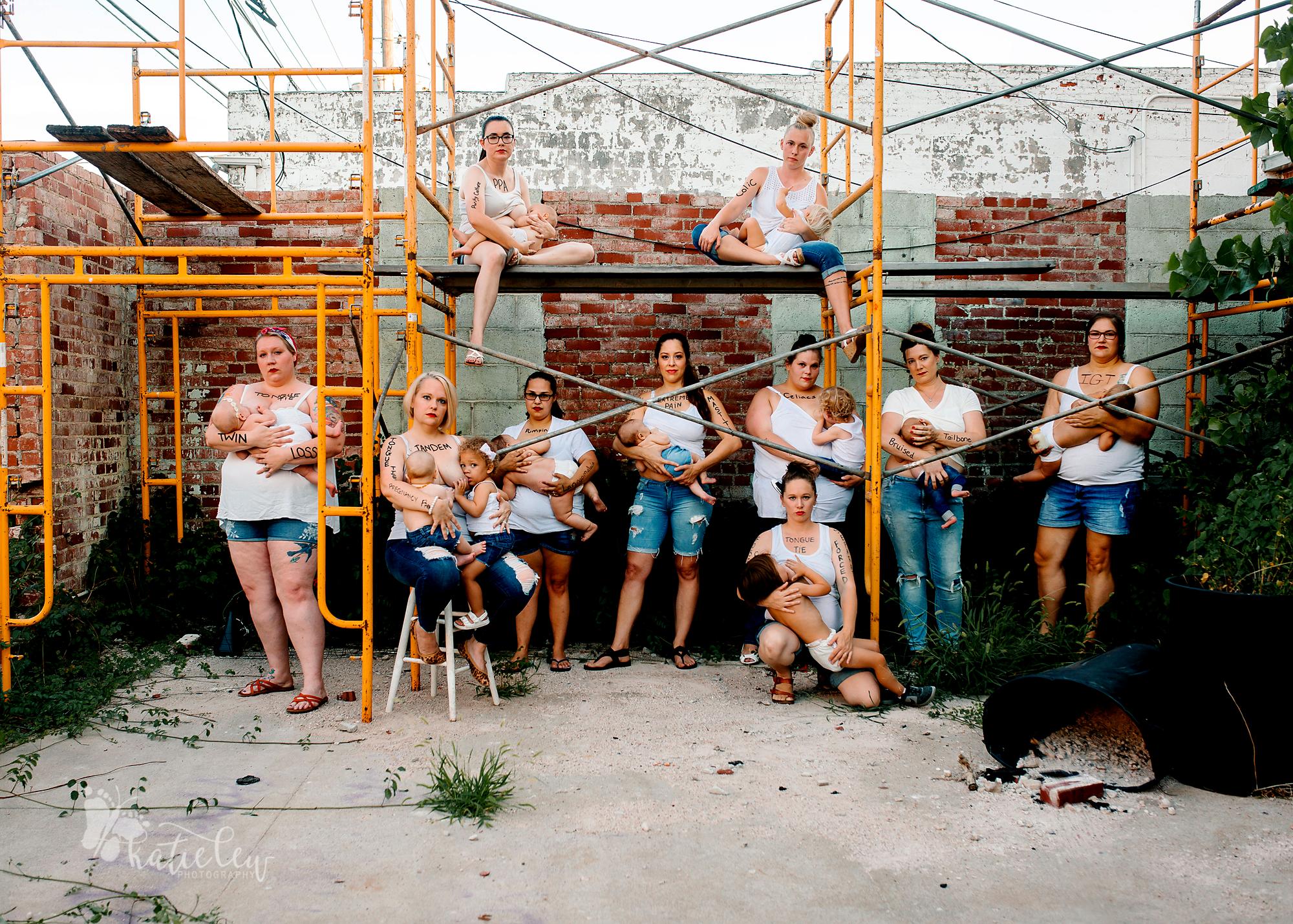 women breastfeeding in alley