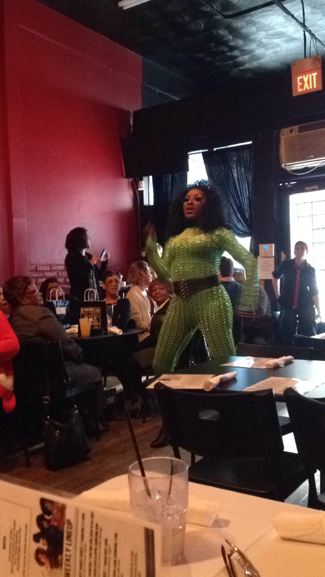 lime green outfit drag queen