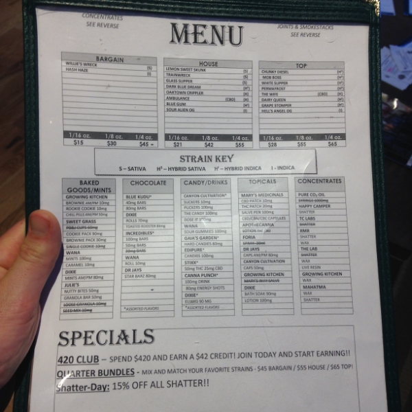 Can we talk about this marijuana menu?