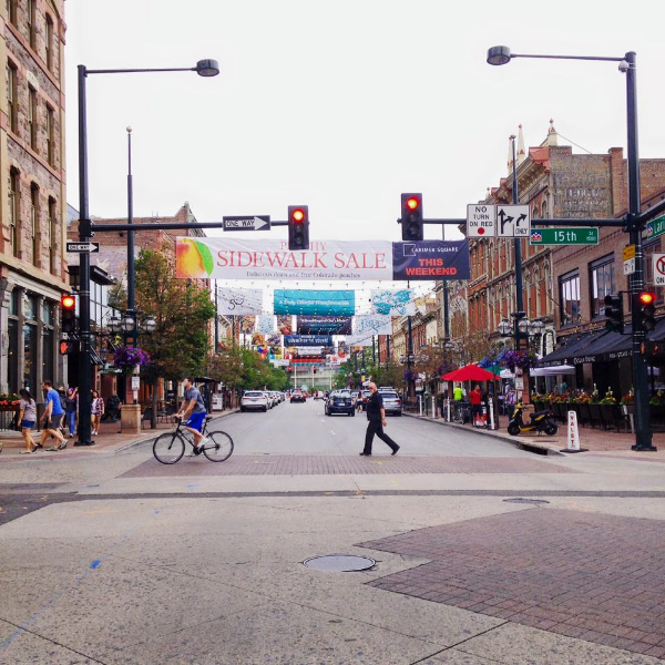 Total tourist shot of Larimer Square. (But it was a red light!)