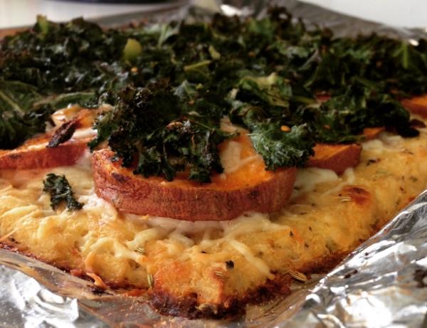 Kale and Sweet Potato Cauliflower Pizza